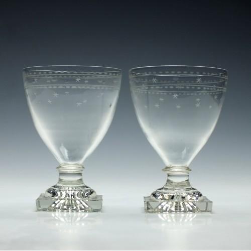 Pair Engraved Lemon Squeezer Rummers c1820