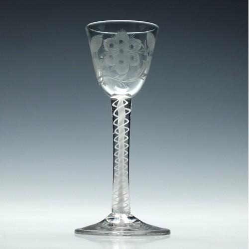 Jacobite Sympathy Opaque Twist Wine Glass c1760
