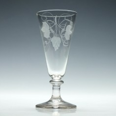 Engraved Georgian Knopped Ale Glass c1820