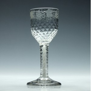 Engraved 18th Century Diamond Moulded Opaque Twist Wine Glass c1760
