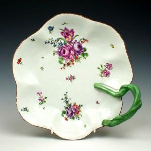 Longton Hall Porcelain Trembly Rose Painter Dessert Dish c1754-57