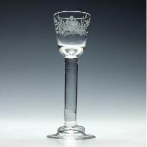 Rare Engraved Irish Plain Stem Cordial Glass c1740