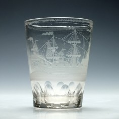 Nautical Theme Engraved Bohemian Tumbler c1780