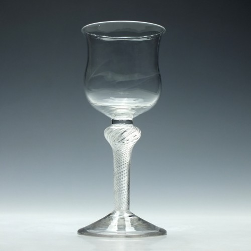 Rare 18th Century Tulip Bowl Air Twist Wine Glass c1750