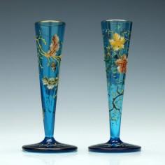 Pair Moser Glass Enamelled Stem Vases c1900