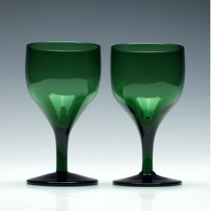 Pair of Green Victorian Wine Glasses c1850