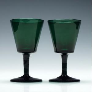 Pair of Rare Victorian Green Bucket Bowl Wine Glasses c1840