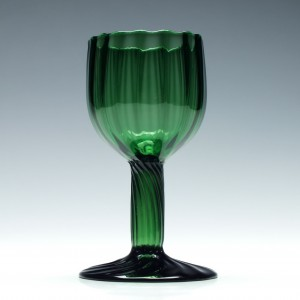 Rare Green Rib Moulded Hollow Stem Wine Glass c1820