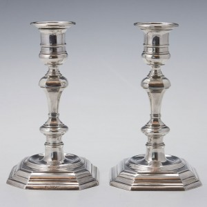 A Pair Sterling Silver Candlesticks London 1904