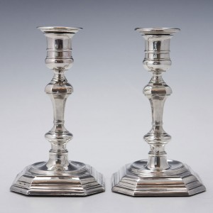 Pair Associated Sterling Silver Candlesticks 1899- 1904
