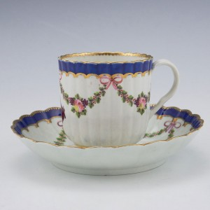 A Worcester Porcelain Fluted Coffee Cup and Saucer c1780