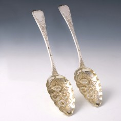 Pair of George III Silver Berry Spoons London 1817