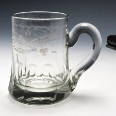 Engraved Victorian Half Pint Glass Tankard c1860
