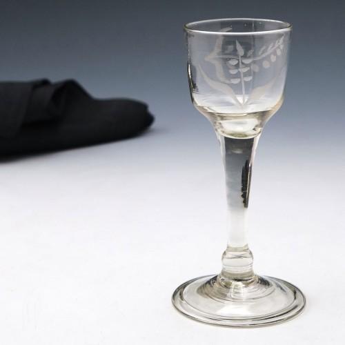 Engraved Plain Stemmed Georgian Wine Glass c1750