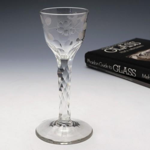 Engraved Facet Cut Stem Wine Glass c1780