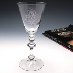 Engraved Georgian Light Baluster Wine Glass c1750