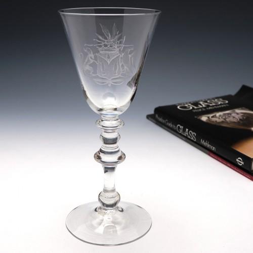 Engraved Georgian Light Baluster Wine Glass c1750