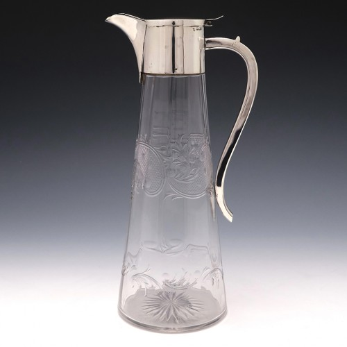 Edwardian Sterling Silver Mounted Fluted Glass Claret Jug Sheffield 1901