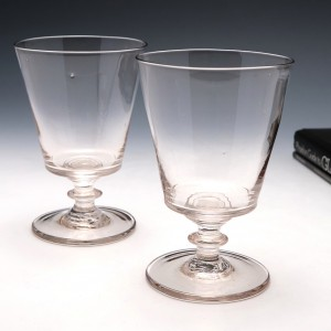 Pair of Georgian Bucket Bowl Glass Rummers c1830