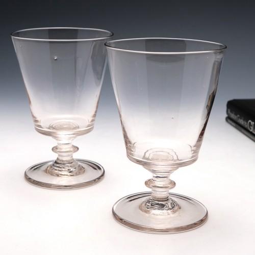 Pair of Georgian Bucket Bowl Glass Rummers c1830