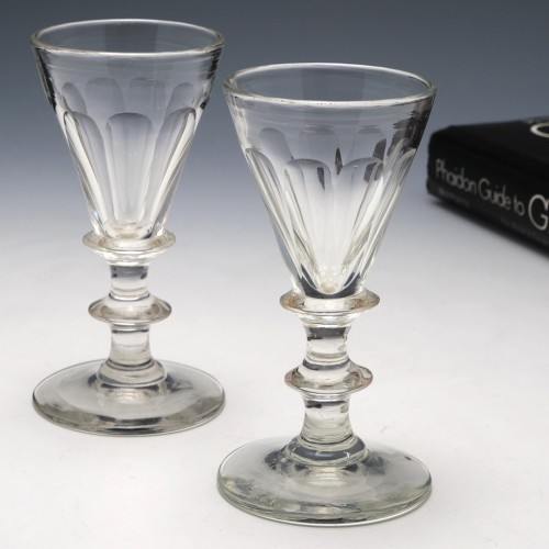 Pair of Victorian Gin Glasses c1850
