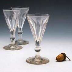 Three Victorian Petal Cut Deceptive Toasting Glasses c1860