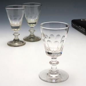 Three Victorian Dram Glasses c1860