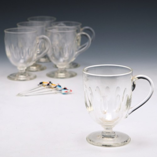 Set of Six Victorian Glass Punch Cups c1880