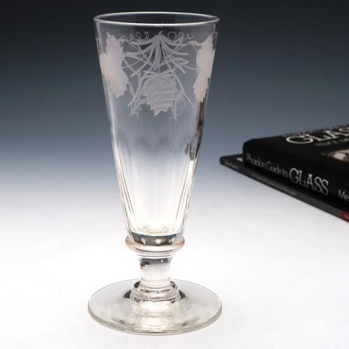 A Pair of Engraved Petal Moulded Ale Glasses c1870