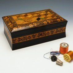 Large Tunbridge Ware Box with Tumbling Dice Decoration c1880