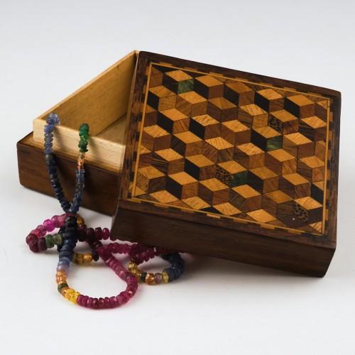 Square Tumbling Dice Tunbridge Ware Rosewood Box c1880