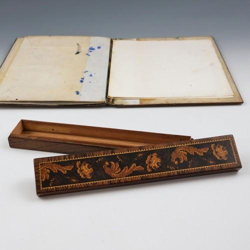 Rosewood Tunbridge Ware Pencil Box c1860