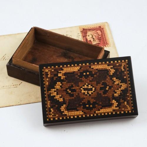 Rosewood Tunbridge Ware Stamp Box c1870