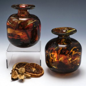 Pair of Mdina Studio Glass Tortoiseshell Vases c1975