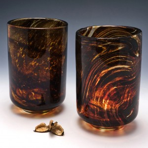 Pair of Mdina Tortoiseshell Glass Storm Light Vases c1975