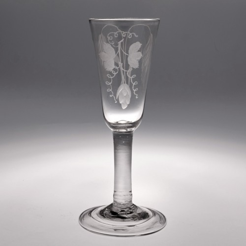 An Engraved Georgian Ale Glass with Folded Foot c1745