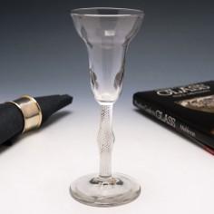 Very Tall Georgian Pan Top Air Twist Wine Glass c1750