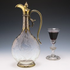 Silver Gilt Mounted Engraved Glass Claret Jug  George Fox London 1866