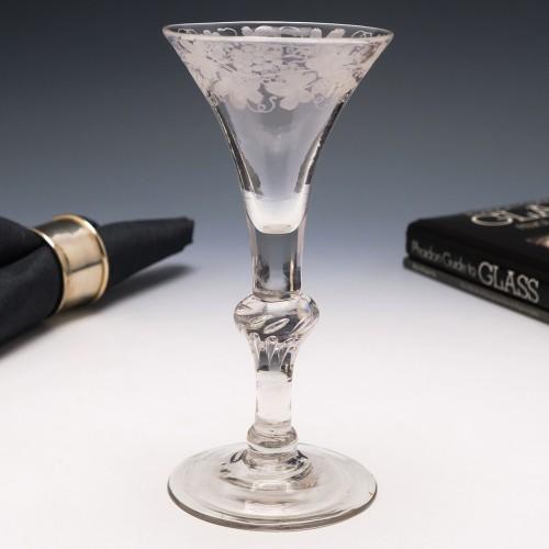 Engraved Georgian Baluster Wine Glass c1735