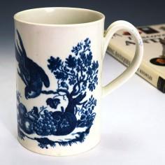 Very Tall Worcester Porcelain  Parrot Pecking Fruit Beer Mug c1775