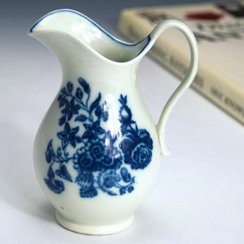 Worcester Porcelain Three Flowers Helmet Cream Jug c1775
