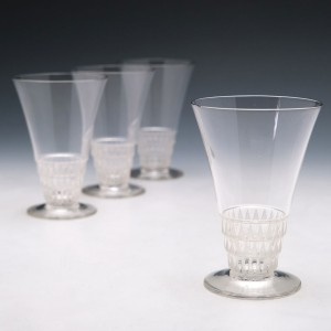 Five Lalique Bourgueil Verre A Bordeaux No4 Glasses Designed 1930 Marcilhac 5201