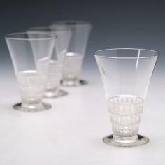 Four Lalique Bourgueil Verre a Liqueur No6 Glasses Designed 1930 Marcilhac 5204