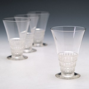 Four Lalique Bourgueil Verre a Liqueur No6 Glasses Designed 1930 Marcilhac 5204