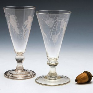 Two 18th Century Engraved Ale Glasses One With Folded Foot