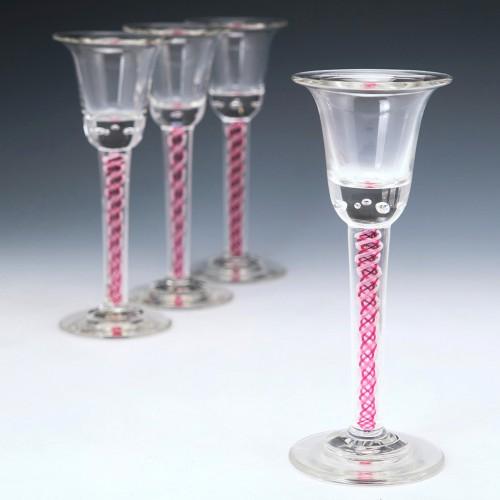 Set of Four Josephinehutte Colour Twist Schnapps Glasses c1910