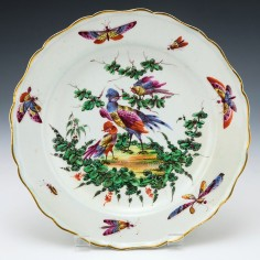 Bow Porcelain Plate With Exotic Birds c1770
