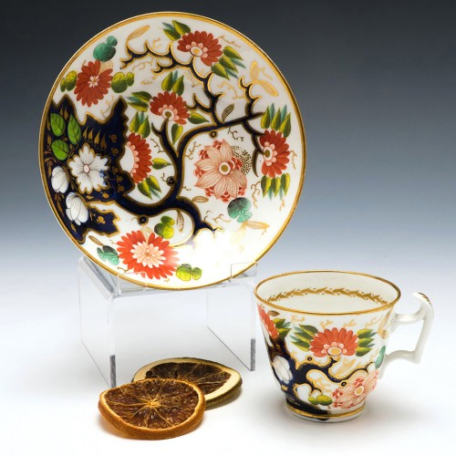 New Hall Porcelain Imari Pattern 115 Coffee Cup and Saucer c1820