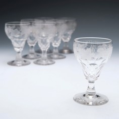 Six John Walsh Engraved White Wine Glasses