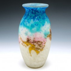 Muller Freres Mottled Glass Vase c1925